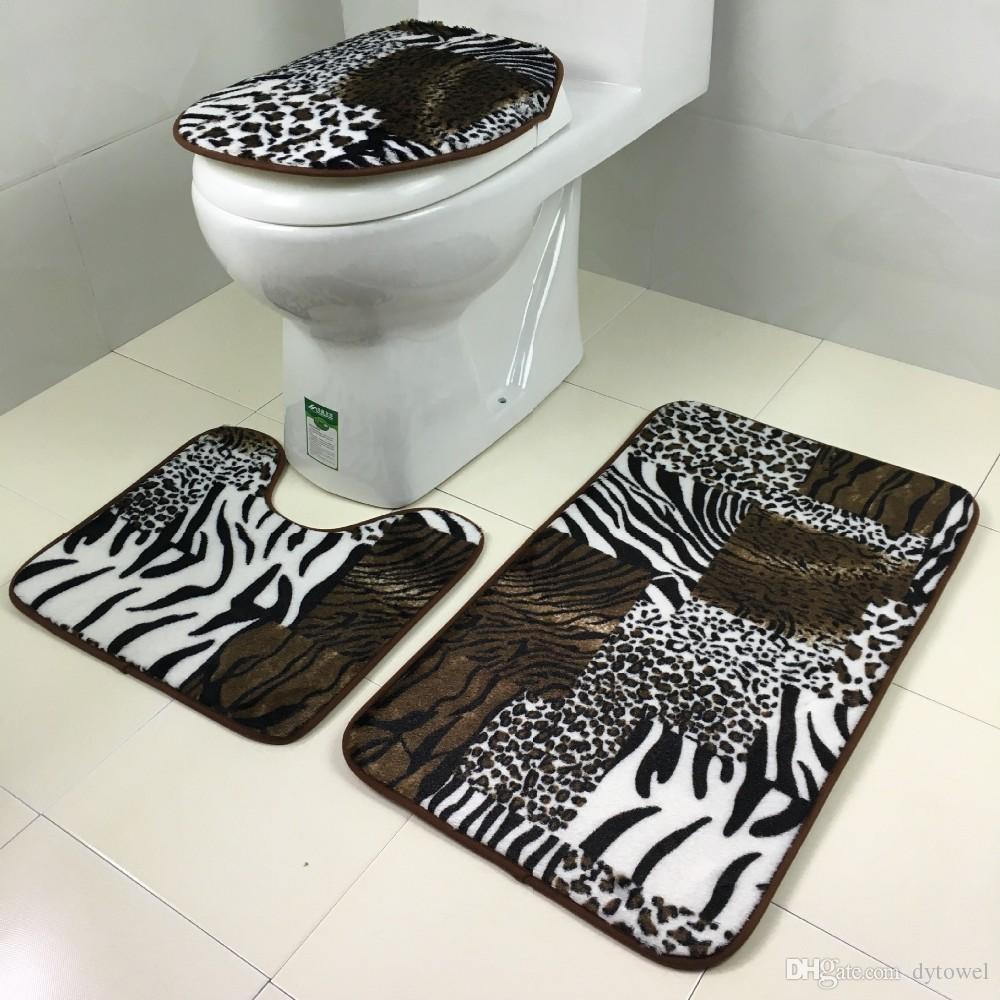 Tapis de bain antidérapant Set Zebra rayé tapis de bain avec housse de siège de toilette tapete para banheiro tapis de sol de toilette accessoires de salle de bains