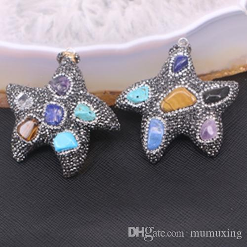 Wholesale reiki chakra pendant multi stone pendant starfish shape wholesale reiki chakra pendant multi stone pendant starfish shape pave crystal rhinestone with natural semi precious stone jewelry silver locket mens mozeypictures Images