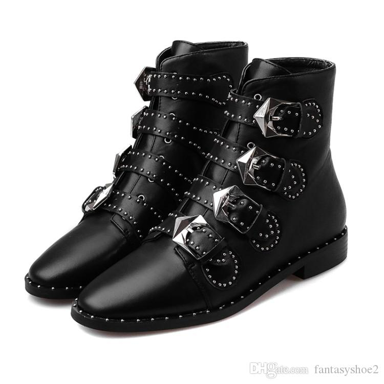 1fca4611289 Susanna Studded Buckle Ankle Boots With Metal Decoration Cool Motorcycle  Boots Leather Rain Booties For Women High Heels Heels From Fantasyshoe2