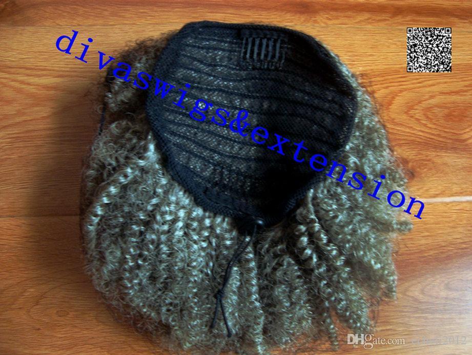 Pelo gris cola de caballo natural puff clip de extensión de pelo de cola de caballo afro Remy afro rizado cordón púrpura de cola de caballo pieza de pelo gris 120g
