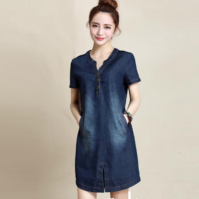 Summer Fashion Plus Size Denim Dress Short Sleeves Korean V Neck