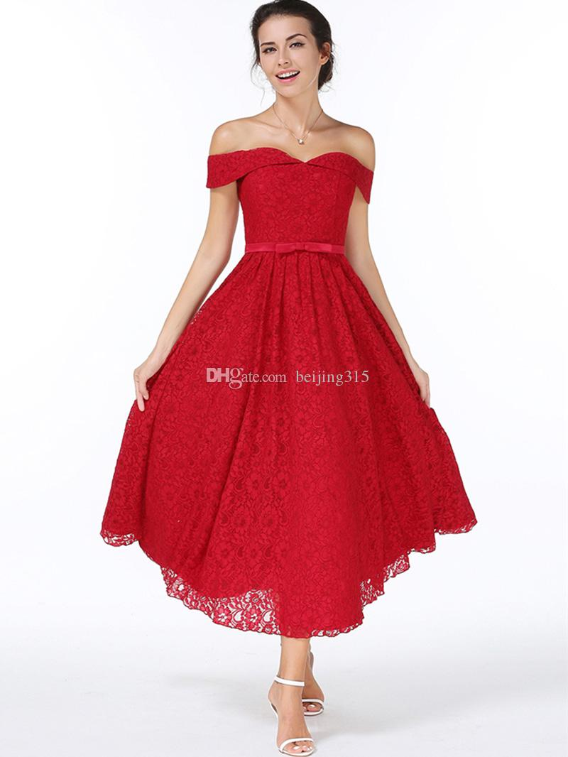 New Fashion Women Sexy Off Shoulder Lace Dress Wine red Formal Dresses Backless Vestidos Long Dress Party Evening Dresses Ball Gown