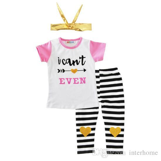 Kids Clothes Ins T Shirts Pants Headband Clothing Sets Girls Bow Lovely Outfits Arrow Letter Leather Tops Pants Baby Summer Casual Suits H88