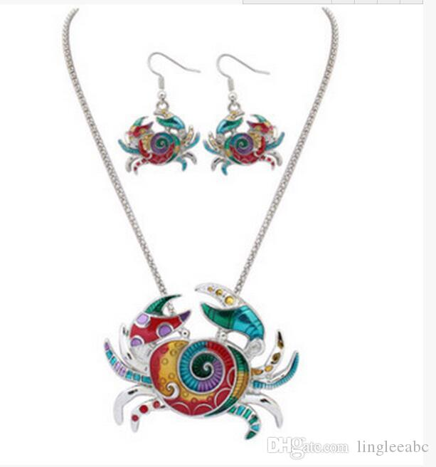 Enamel Sea Horse Angel Wing Necklace Butterfly Starfish Earrings Set Silver Ear cuff Maxi Enamel Jewelry Women Gift