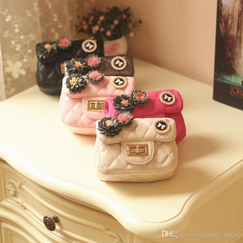 Korean Girls Princess Mini Bags 3D Flower Betterfly Children designer purses Fashion rhombus Metal Chain Kids Messenger Bag C2350