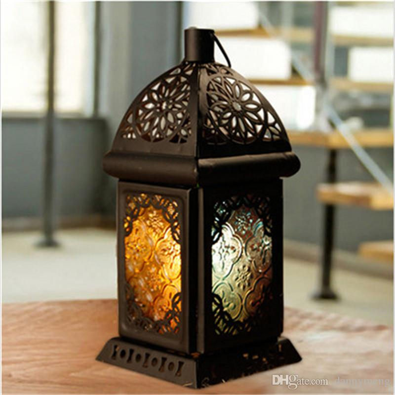 2017 Classic Moroccan Decor Candle Holders Votive Iron Glass Hanging Candlestick Candle Lantern Party Home Wedding Decoration