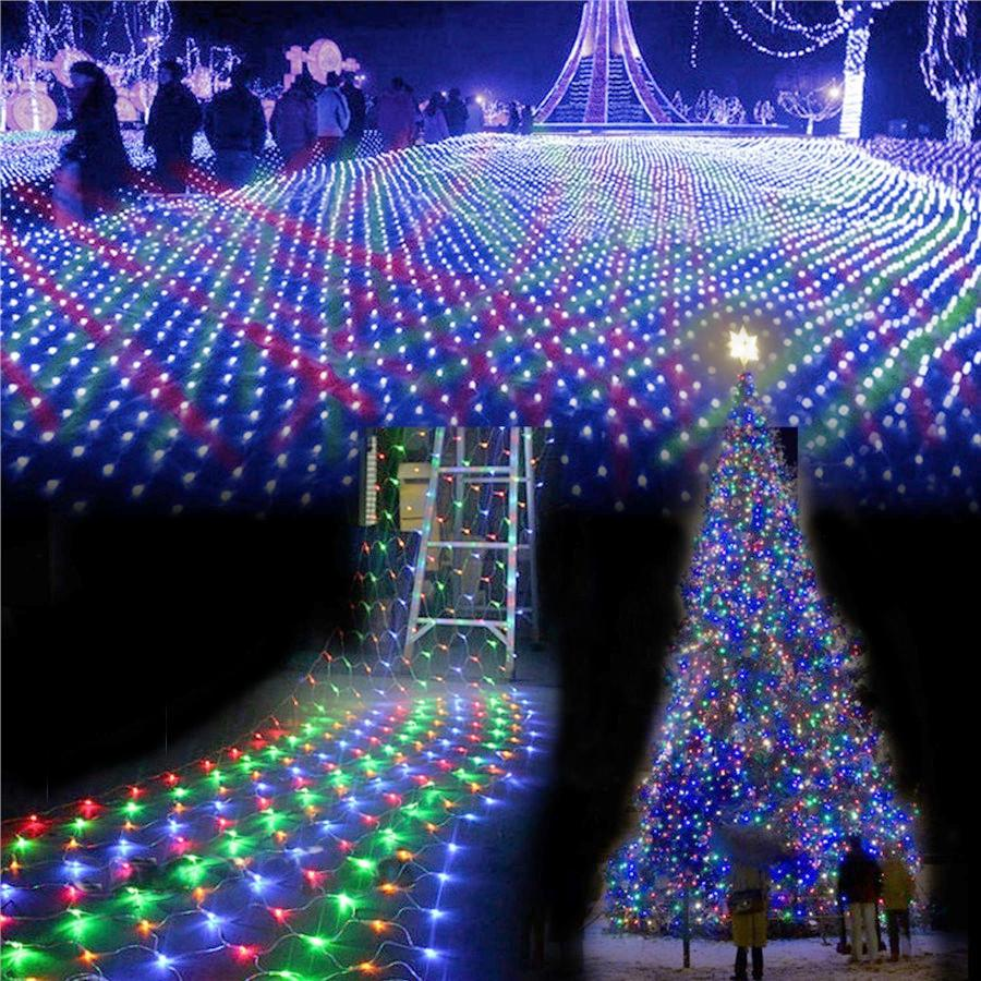 wholesale ac220v 4mx6m 750 led net string lights outdoor christmas fairy string light for xmas holiday wedding party decoration 8 mode battery string lights