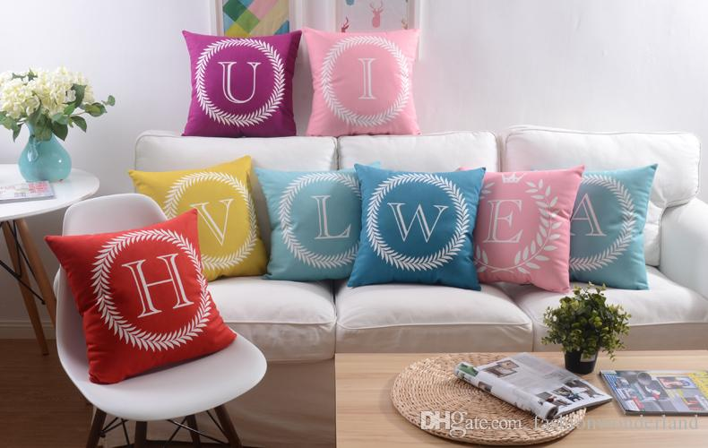 26 English Letters Cushion Covers Color Home Love Baby Names Initials Alphabet Pillow Cover Sofa Throws Velvet Pillows Case Bedroom Decor