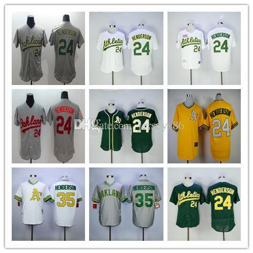 1efab7053 ... 2017 1991 Retro Oakland Athletics 24 Rickey Henderson Jersey Mitchell  Ness Green Gray White Yellow Pull ...