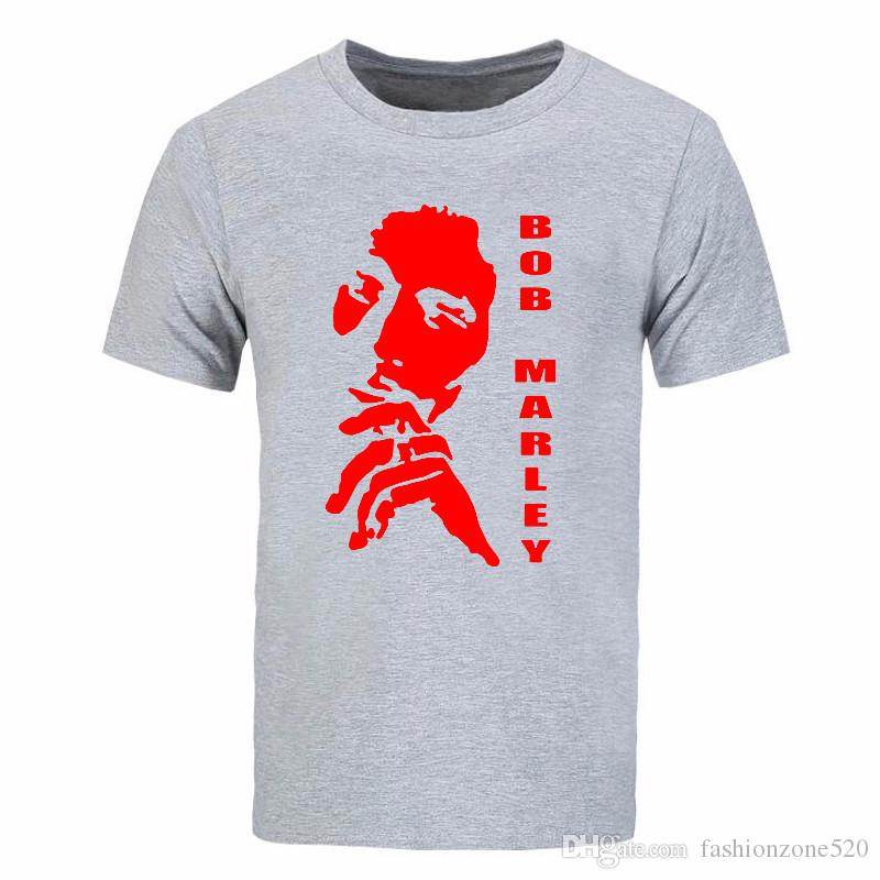 Reggae Bob Marley Hombres Camisetas Algodón Casual Bob Marley Head Impreso Camisetas de Verano de Manga Corta Algodón Hombre Tops de Cuello Redondo Camiseta DIY-0249D