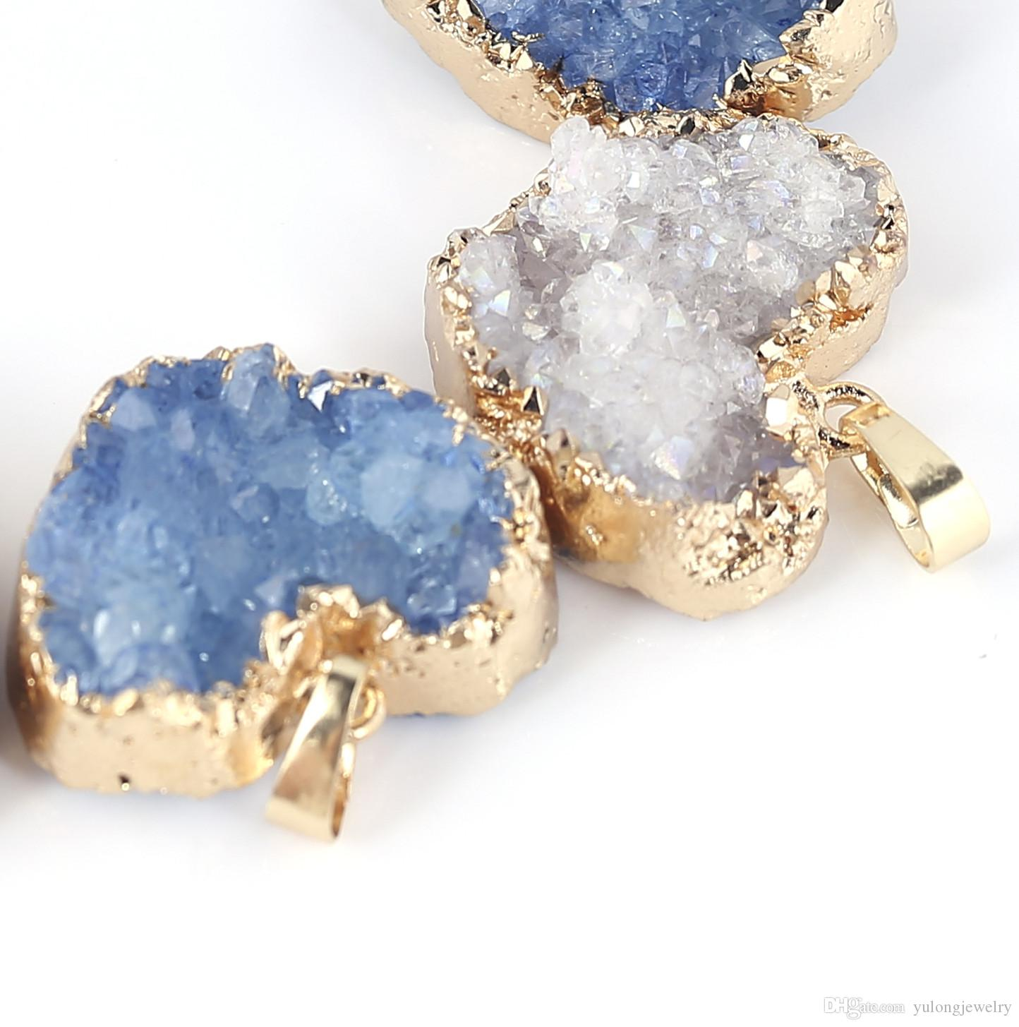 Hot Items Heart Druzy Pendants Natural Quartz Druzy Gold Plated a For Woemen