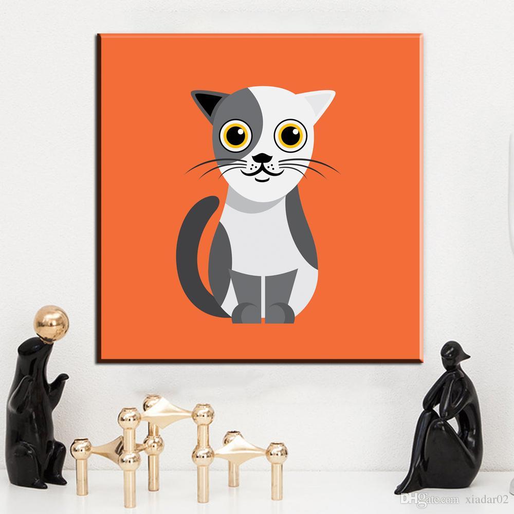 ZZ2074 Karikatür Hayvan Kedi Sanat Tuval Poster Modern Minimalist Duvar Odası Dekor Boyama turuncu Arka Plan Hiçbir Çerçeve Ücretsiz Kargo