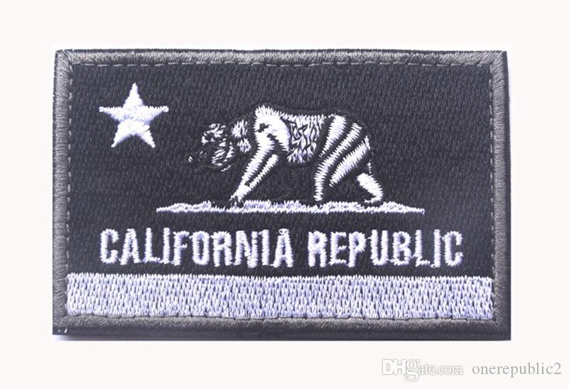 Embroidered CALIFORNIA REPUBLIC State Patches United States State Flag Patch Tactical 3D Badge Fabric Flag Armband Cloth Badges free ship