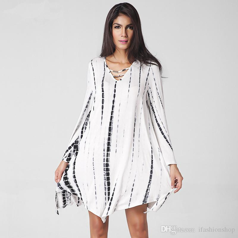 36eaf0f64264 V Neck Long Sleeve White Asymmetric Loose Dress Hot Sale Casual Summer  Dresses Evening Dresses Summer Dresses From Ifashionshop