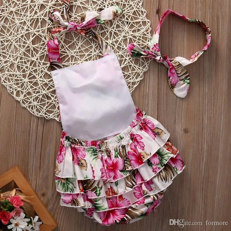 Newborn Infant Baby Girl clothing Backless Floral Ruffles Rompers Dress Sleeveless Romper Headband Jumpsuit toddler Outfit Playsuit for girl