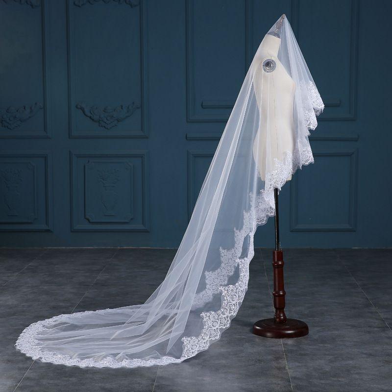 3 Meter Kathedrale Länge Brautschleier Weiß Elfenbein Spitze Applique Edge Lange Brautschleier Günstige Braut Zubehör 3 Meter lang CPA888