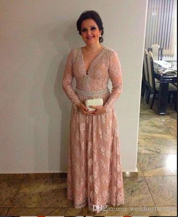 花嫁のドレスvネックイリュージョン長袖ビーズ真珠ヴィンテージレースの床の長さ母のドレス結婚式のゲストのドレスのエレガントな母
