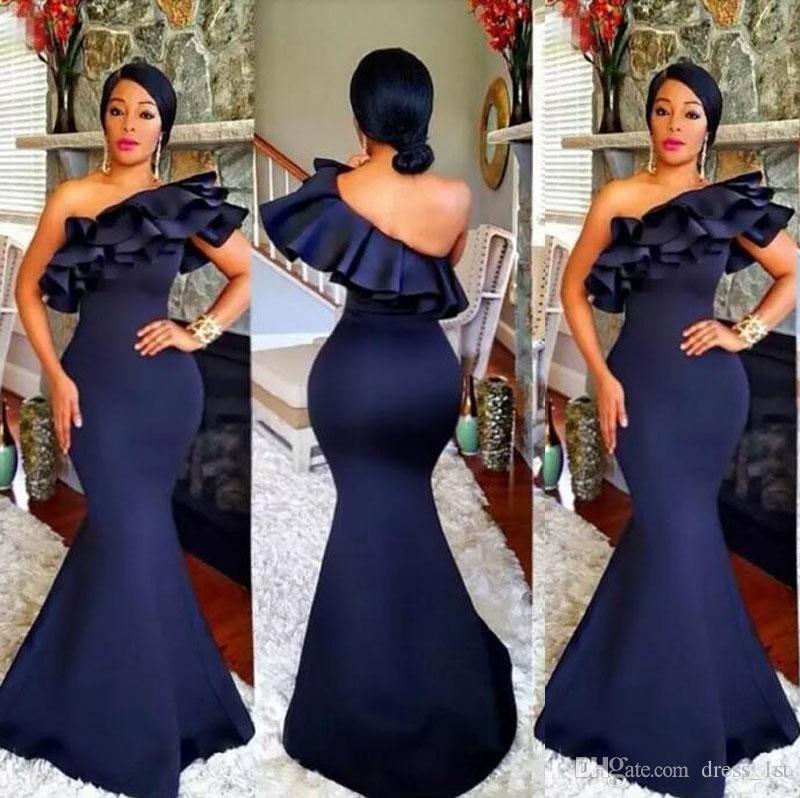 African 2018 Dark Navy Blue Satin Mermaid Bridesmaid Dresses Long Ruffle Tiered One Shoulder Maid Of Honor Gowns Custom Made China EN10251