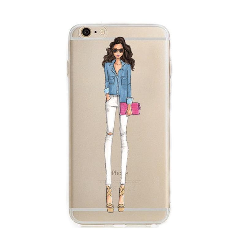 2016 Special Offer Direct Selling Fashionable Dress Shopping Girl Cases for Iphone 6 6s Case Transparent Soft Phone Cover