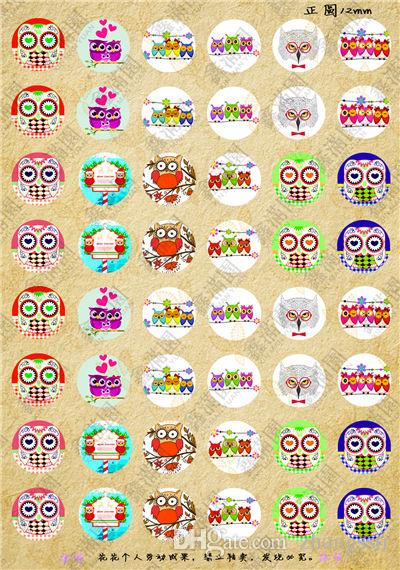 BoYuTe  12mm Round Pattern Cabochons Mix Owl Kawaii Sign Image Glass Cabochon For Earring Blank Settings xl3638
