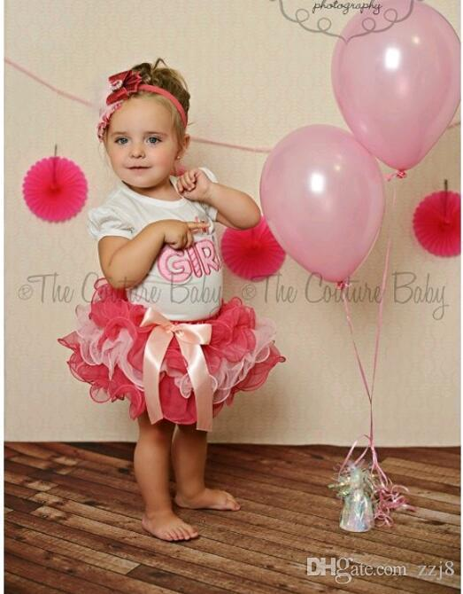 Summer Cute Baby Clothes Sets Pink Birthday Girl Mixed Color Lace Cake T Shirt Skirt Set Kids Suit