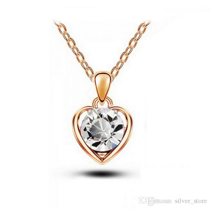 High quality Austrian crystal necklace heart language pendant female alloy ornaments WFN095 with chain a