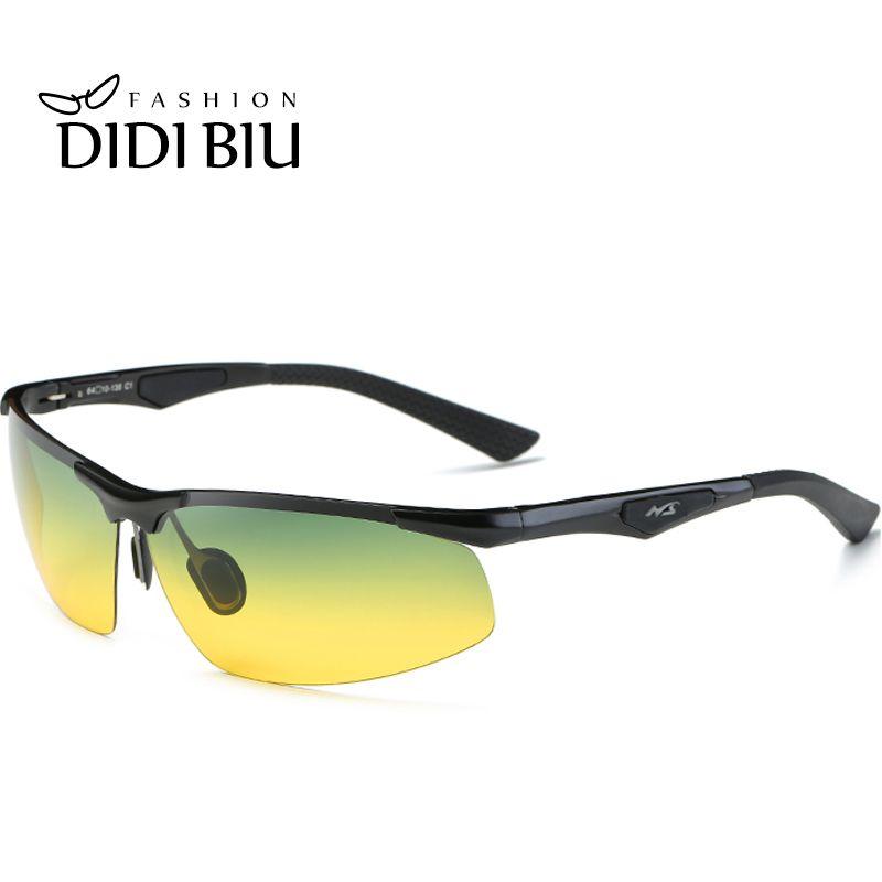 0d84ab7cdd7b3 Compre DIDI Polarizada Day Night Vision Óculos De Sol Dos Homens De  Alumínio E Magnésio Óculos De Sol Metade Quadro Verde Amarelo Gasses  Condução Militar ...