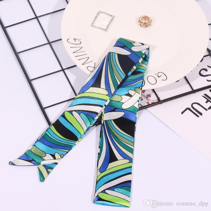 Moda multifunción Imprimir bufanda para bolsos Mango es Head wrap bufandas Cinta de las mujeres turbante triángulo diadema bufanda de seda