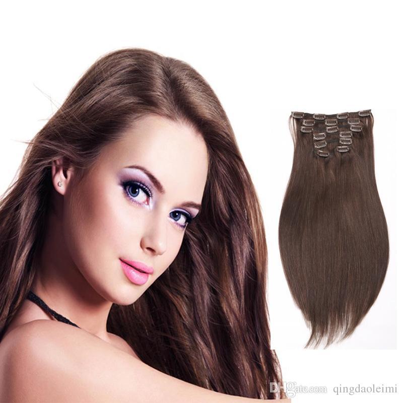 Hot Selling Human Hair Extensions 4 Dark Brown Cheap Clip In Hair