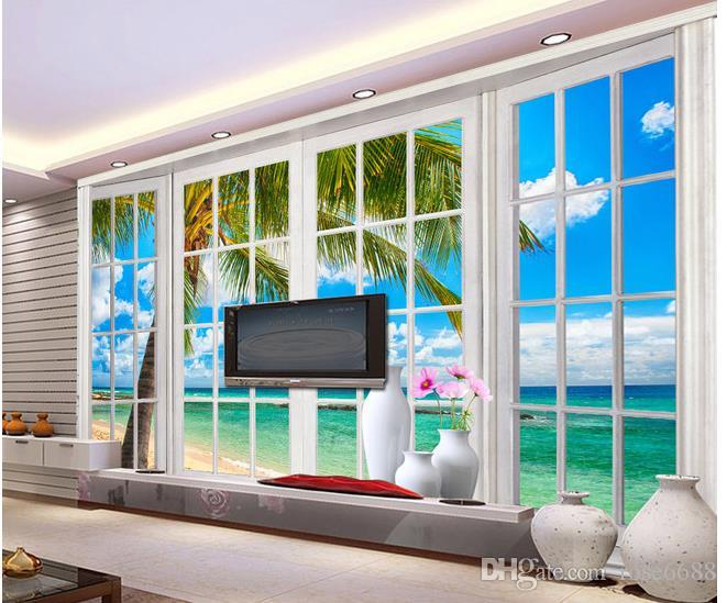Home Decor Living Room Natural Art Windows 3d Sea View Mural