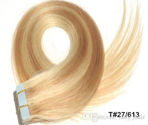 사람의 모발 연장에있는 도매 테이프 매끄러운 똑 바른 브라질 사람의 모발 테이프 연장 / Set 피부 씨실 머리 연장