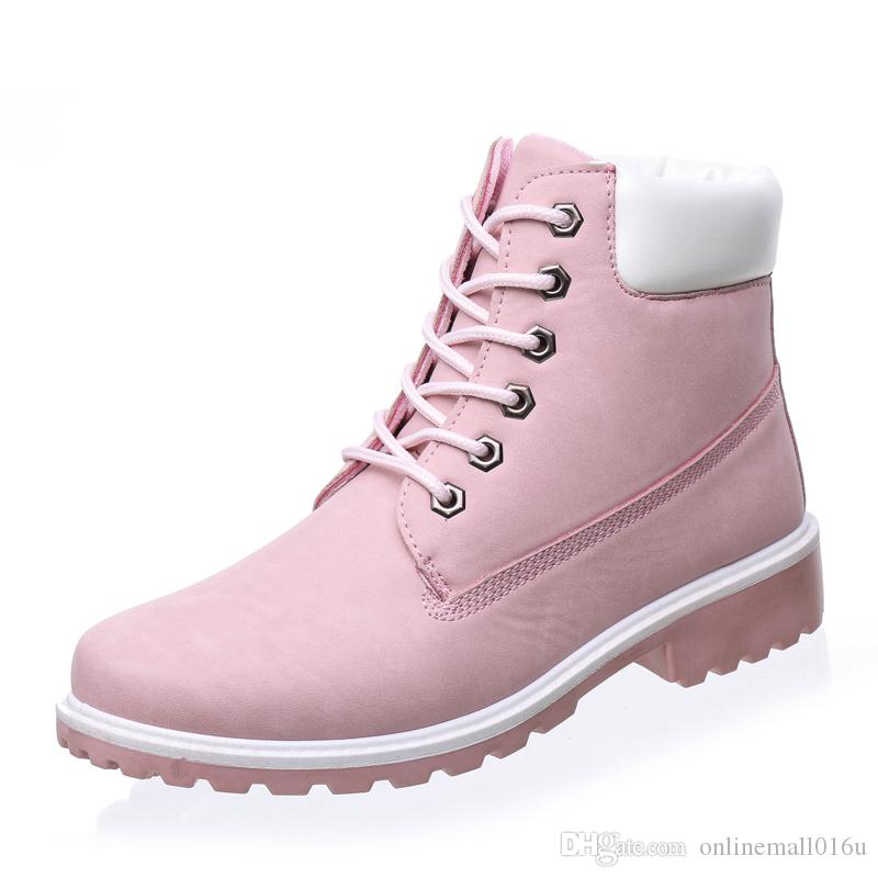 f44d34ab2b287 Autumn Women Boots Size 9 10 Platform Pink Women Ankle Boots Soft Leather  Lace up Ladies Shoes Botas Mujer