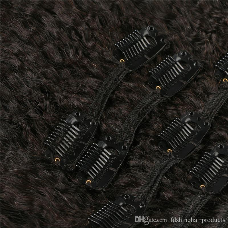 Filipino Human Hair Clip In Kinky Straight Clip In Hair Extensions Virgin Hair FDSHINE