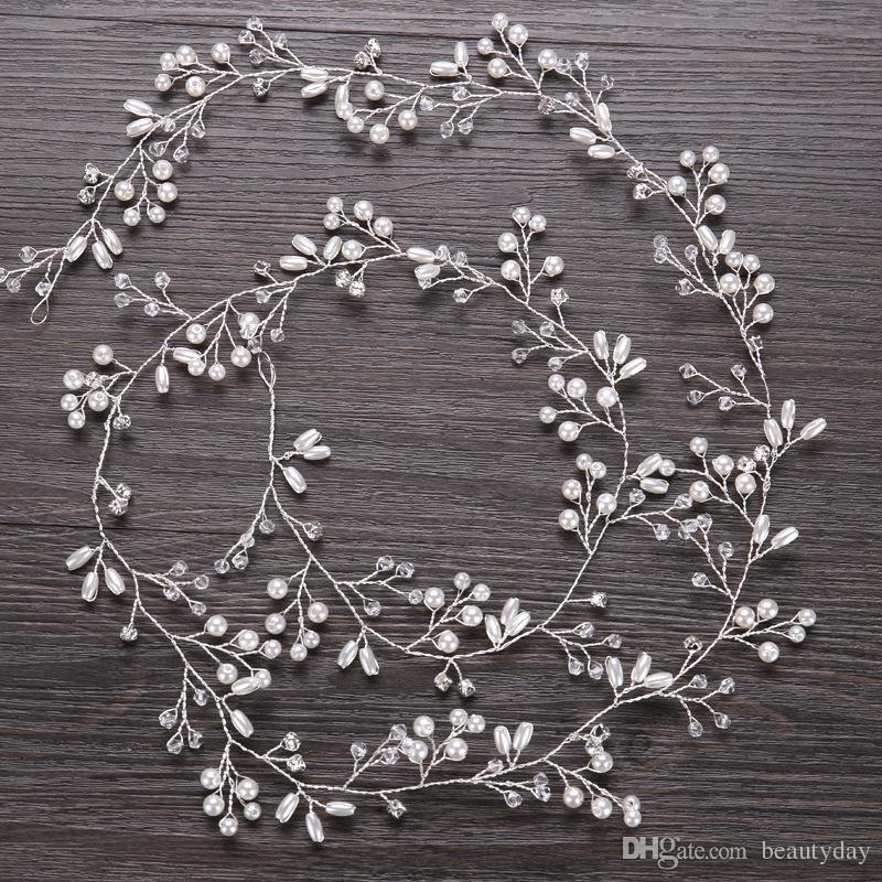 Düğün Gelin Gelinlik Gümüş El Yapımı Rhinestone İnci Hairband Kafa Lüks Saç Aksesuarları Başlığı Fascinators Tiara Altın