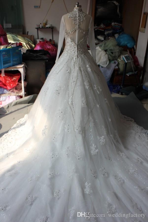 Modest Real Picture High Neck Luxury Bröllopsklänningar Kristaller Pärlor Beading Lace Appliques Illusion Långärmade Brudklänningar med tåg