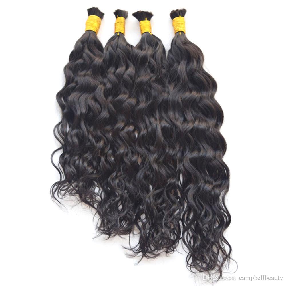 "100% Virgin Brazilian Water Wave Human Hair Bulk Wet and Wavy Human Hair for Braiding 10""-28"" Full and Soft"