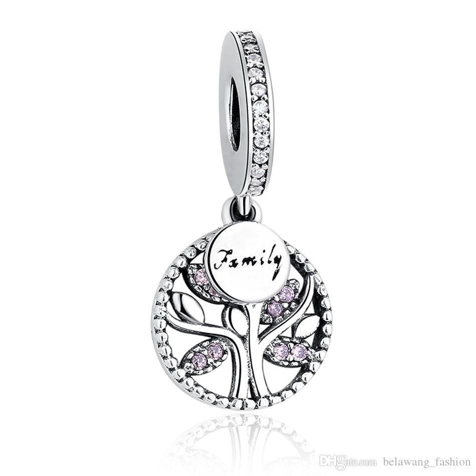 BELAWANG 3 Styles 925 Sterling Silver Family Tree Charms Cubic Zircon Pendant Beads Fit Pandora Bracelet&Necklace For Women Jewelry Making