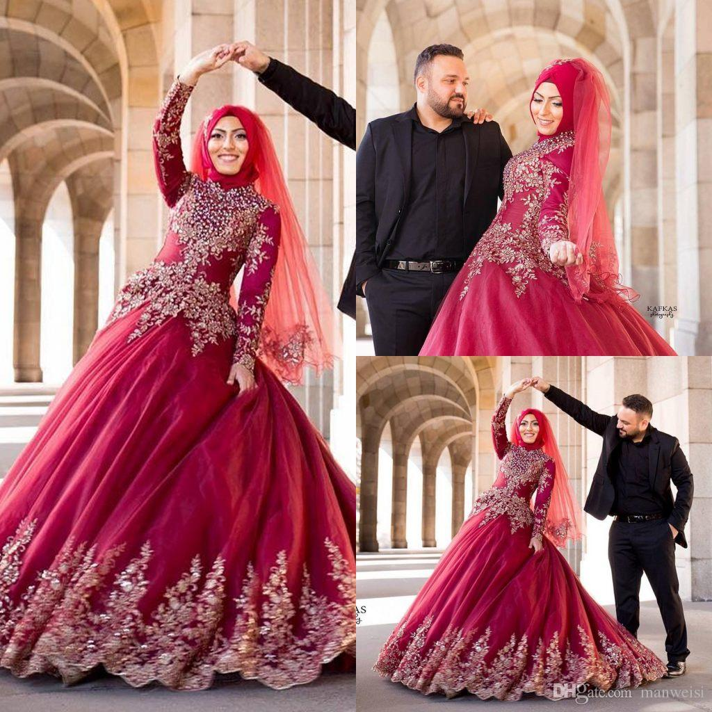 Muslim Wedding Gown Pictures: Ball Gown Red Muslim Wedding Dresses Beads Long Sleeve