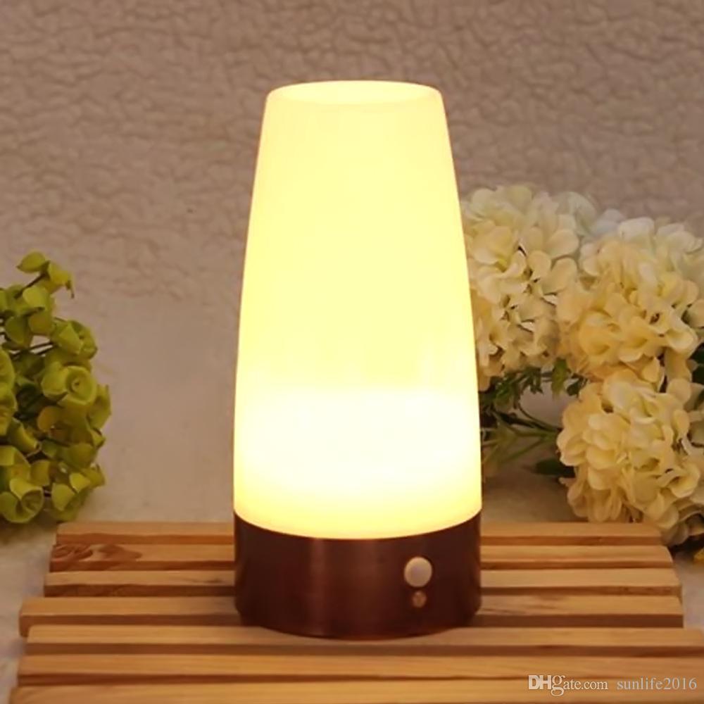 Elegant 2018 Wireless Pir Motion Sensor Led Night Light Retro Battery Powered Led  Light Sensitive Table Lamp Vintage Nightlight For Camping Hallway, ...