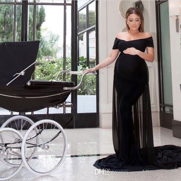 Vestidos de Maternidade elegante Equipado Longo Formal Fora Do Ombro Preto Grávida Tapete Vermelho Vestido de Noite Vestido de Noite Vestido de Chiffon Feito Sob Encomenda