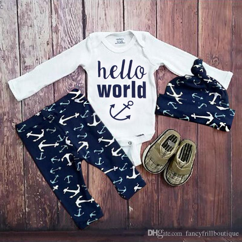 2b910f37d 2017 Ins Spring Autumn Clothing Sets Baby Boy Anchor Printed Outfits Kids  Hello World Letter Rompers+Long Pants+Hat 3Pcs