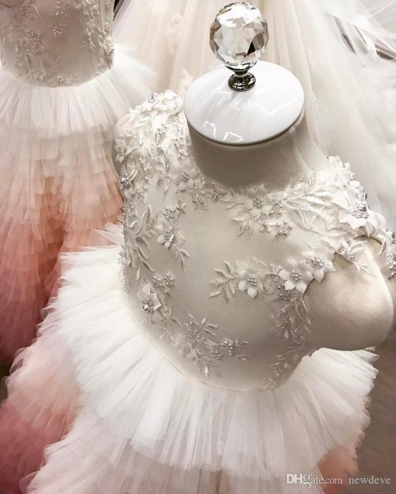 Perline 3D Appliques floreali Flower Girl Dress Pizzo Abiti eleganti Abiti da sposa vintage la piccola sposa