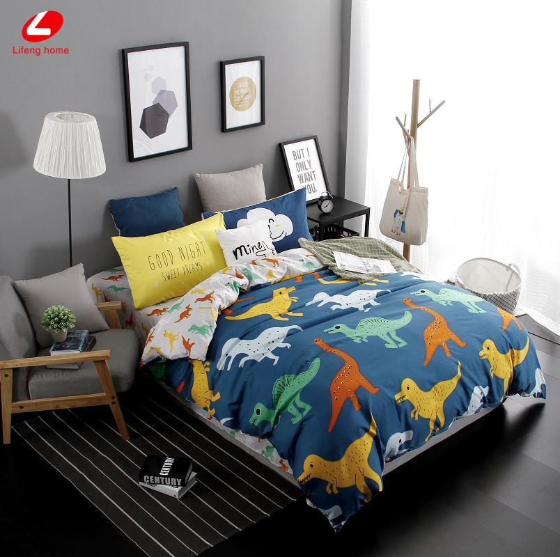 Wholesale Lifeng Home 2017 New Duvet Cover Set Dinosaur Bedding Set Duvet  Cover Ab Side Bed Set Printing Flat Sheet Super King Bedclothes Bedding Sets  King ...