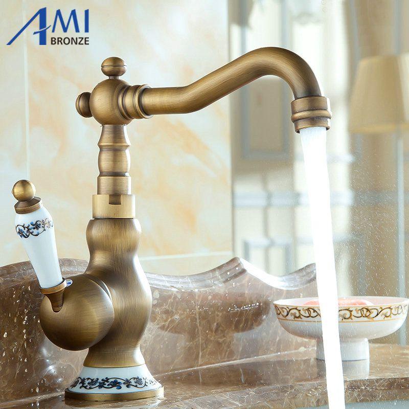 2018 Wholesale 8 Antique Brass Kitchen Faucets Brass U0026 Porcelain Base  Bathroom Sink Basin Faucet Mixer Tap 9065ap 360 Swivel From Hobarte, $68.14    Dhgate.