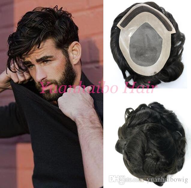 Indian remy hair toupee loose wave virgin hair men wig 7x9 size Mono Base with PU human hair toupee for men