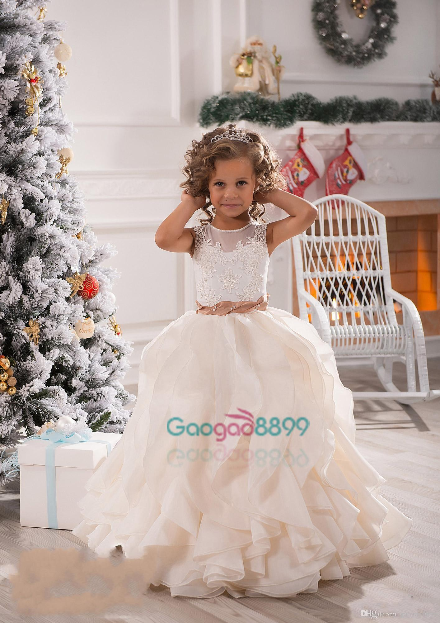2017 new flower girls dresses for weddings illusion neck lace 2017 new flower girls dresses for weddings illusion neck lace white ivory sashes ruffles party princess children kids party birthday gowns girl flower ombrellifo Image collections