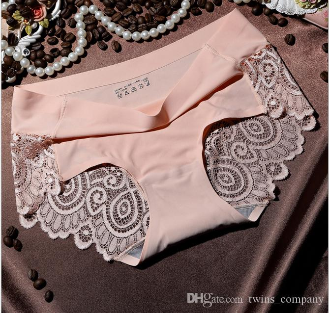 High-end sexy taste ice silk ladies underwear no trace lace edge female briefs 2017 New Arrival Women's Sexy Lace Panties Seamless