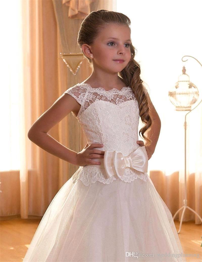 Blumenmädchen Erstkommunion Kleider Scoop rückenfrei mit Applikationen und BowTulle Ballkleid Festzug Kleid für kleine Mädchen