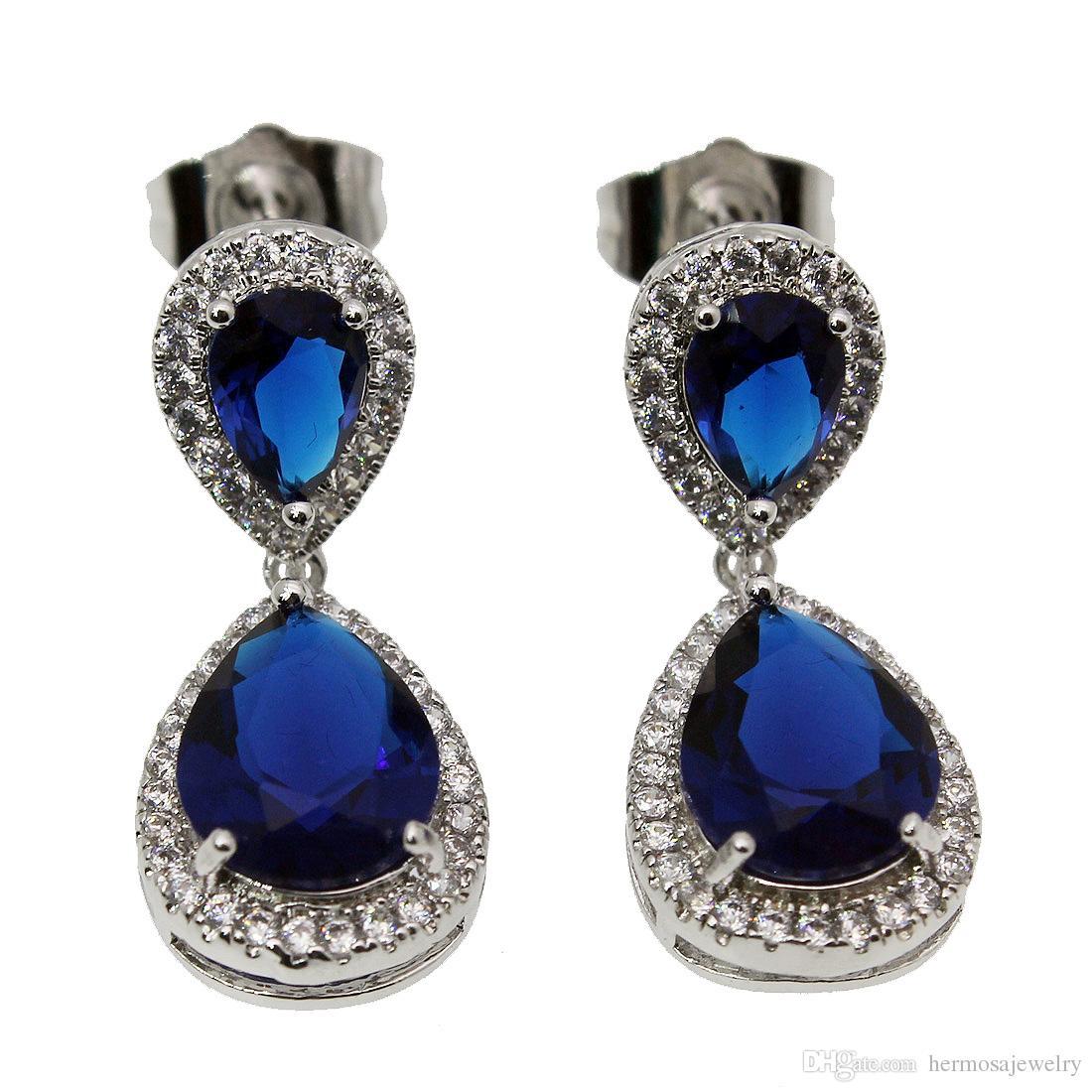 925 Sterling Silver Stud Earrings Bling Jewelry Zafiro Esmeralda Morganite Garnet White Topaz Mujeres Pendientes Teardrop Prom regalos