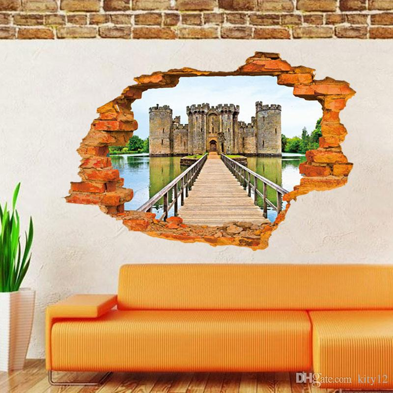 New Castle Wall Stickers Bedroom Removeable Art Decal Cartoon Home Decoration Room Waterproof Stickers Hot Sale
